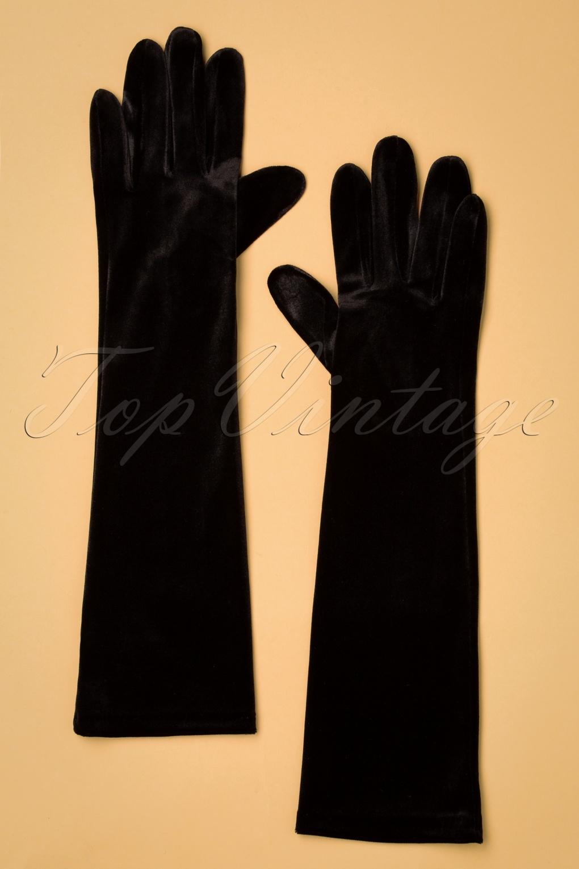 Vintage Style Gloves- Long, Wrist, Evening, Day, Leather, Lace 50s Victoria Velvet Gloves in Black £21.43 AT vintagedancer.com