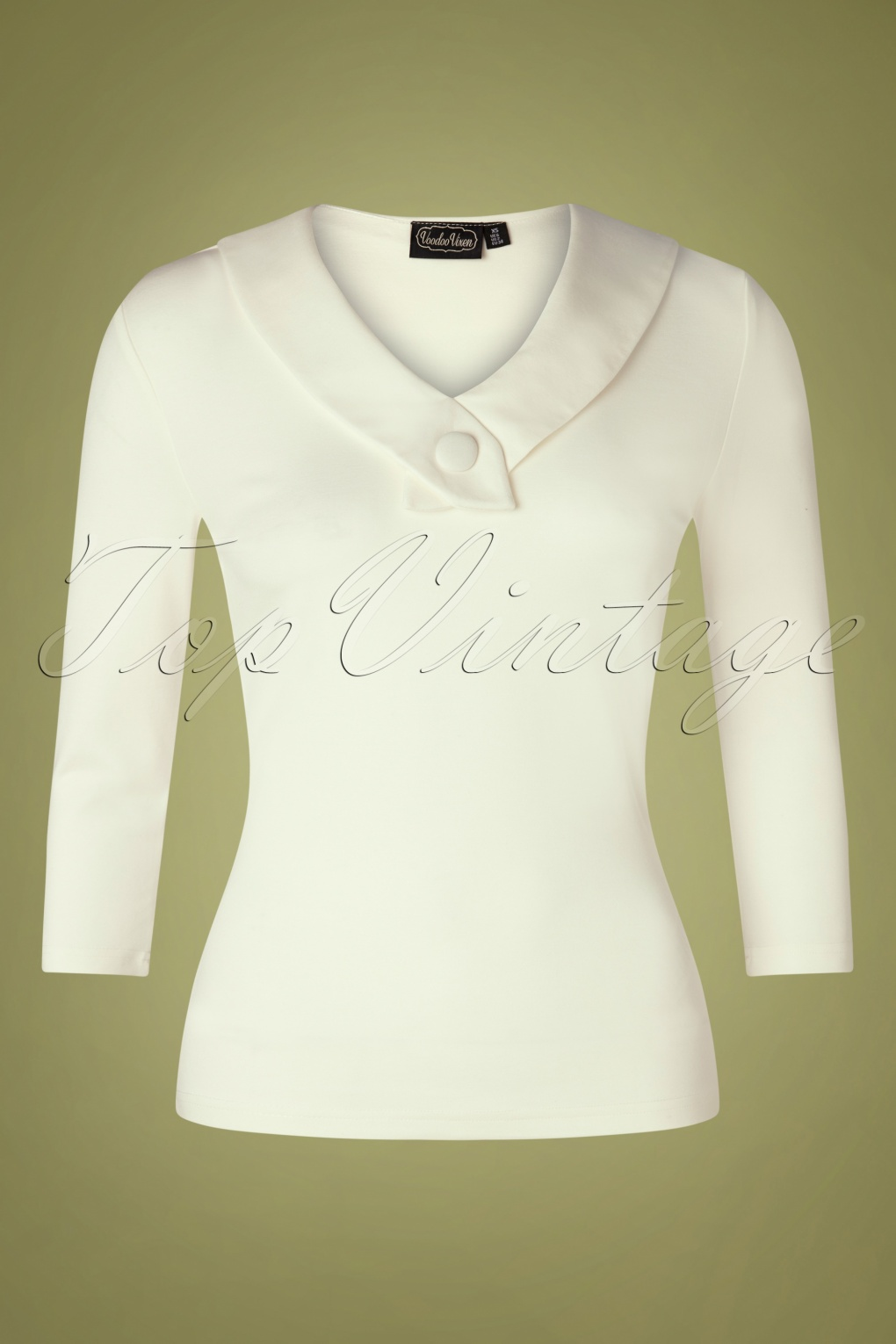 1950s Sweaters, 50s Cardigans, 50s Jumpers 50s Caniya Retro Top in Cream £30.01 AT vintagedancer.com