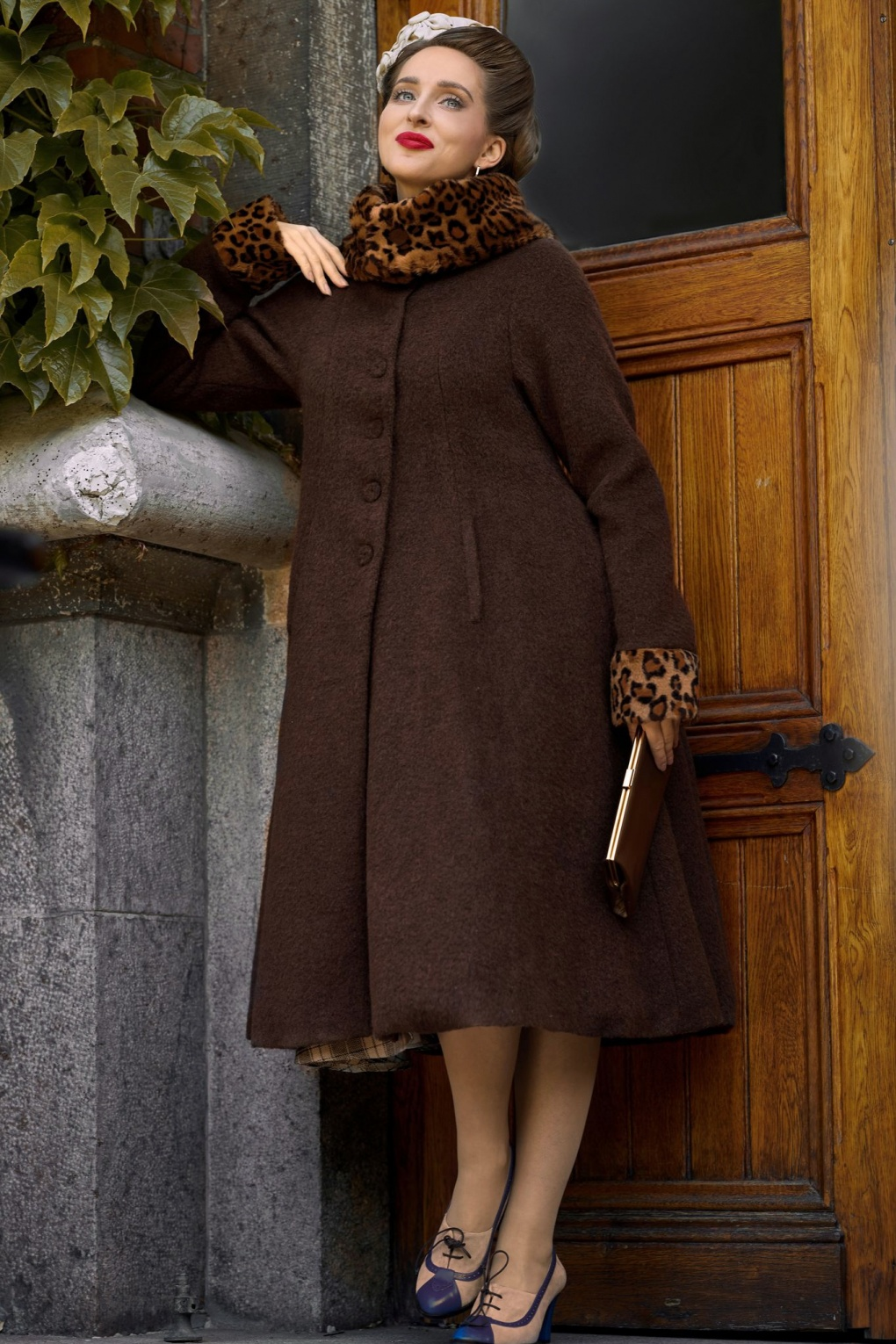 Vintage Coats & Jackets | Retro Coats and Jackets 40s Pomona Dora Wool Winter Coat in Brown and Leopard £158.76 AT vintagedancer.com