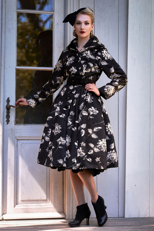 Vintage Coats & Jackets | Retro Coats and Jackets 50s Lelia Lou Floral Winter Coat in Black £165.24 AT vintagedancer.com