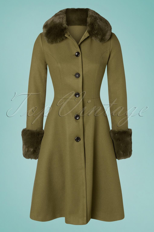 Vintage Coats & Jackets | Retro Coats and Jackets 40s Erin Faux Fur Trim Coat in Olive £128.72 AT vintagedancer.com