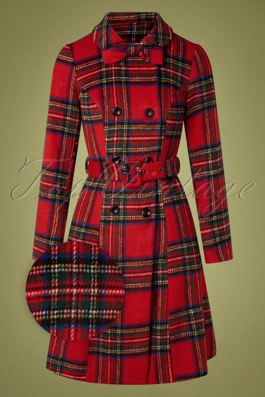 Vintage Coats & Jackets | Retro Coats and Jackets 50s Margaret Bow Coat in Red Plaid £128.72 AT vintagedancer.com