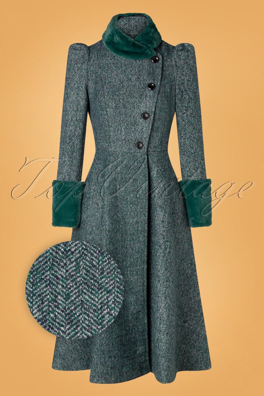 Vintage Coats & Jackets | Retro Coats and Jackets 40s Violet Fur Trim Dress Coat in Green £128.72 AT vintagedancer.com