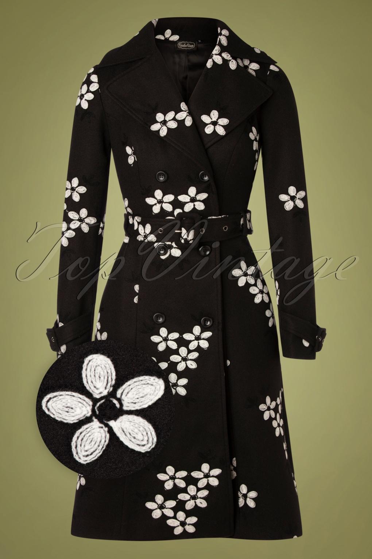 Vintage Coats & Jackets | Retro Coats and Jackets 60s Marjorie Floral Coat in Black £115.84 AT vintagedancer.com