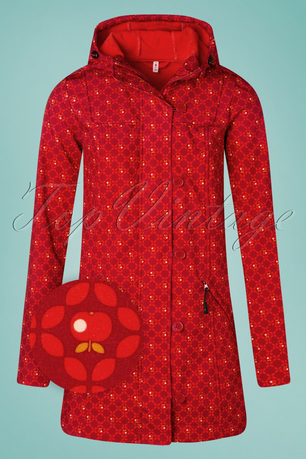Vintage Coats & Jackets | Retro Coats and Jackets 60s Wild Weather Long Anorak in Sweet Apple Red £128.72 AT vintagedancer.com