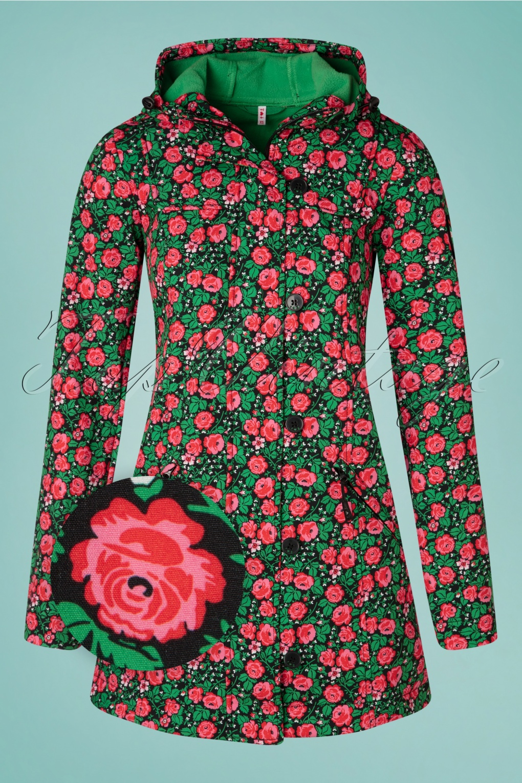 Vintage Coats & Jackets | Retro Coats and Jackets 60s Wild Weather Long Anorak in Floral Potpourri Black £128.72 AT vintagedancer.com