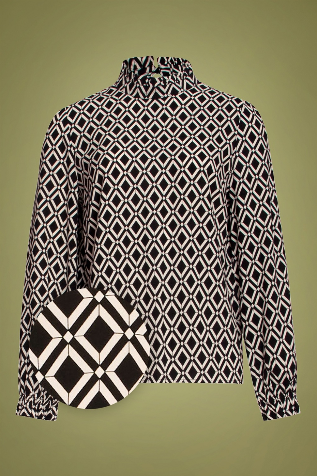 1960s Style Clothing & 60s Fashion 60s Shauni Blouse in Black and Off White £59.64 AT vintagedancer.com