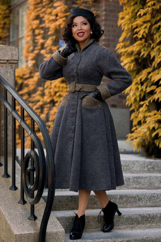 Vintage Coats & Jackets | Retro Coats and Jackets 40s Fionna Iron Wool Winter Coat in Grey Melange £158.76 AT vintagedancer.com