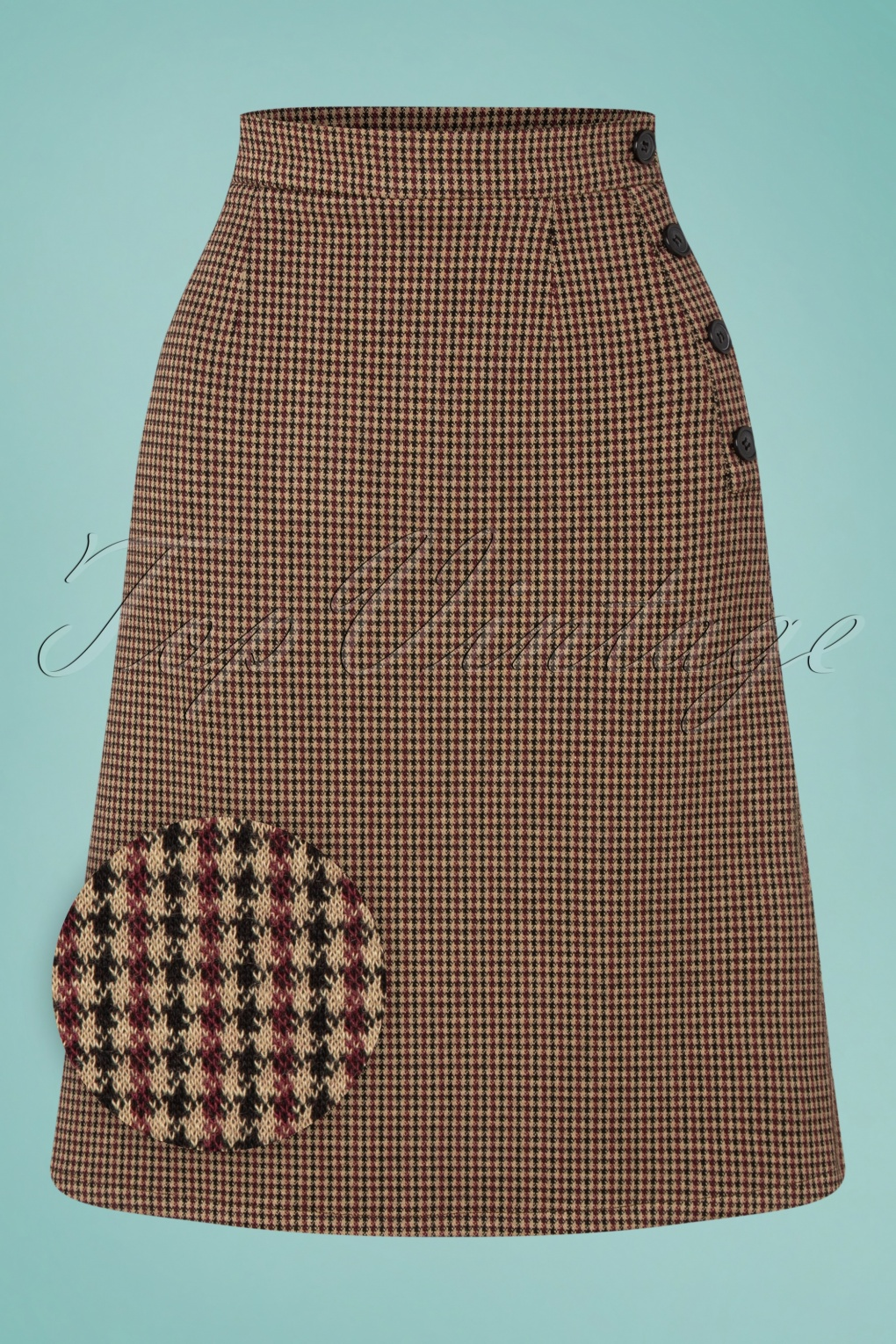 1960s Style Clothing & 60s Fashion 60s In The Moods Skirt in Houndstooth Burgundy £68.17 AT vintagedancer.com
