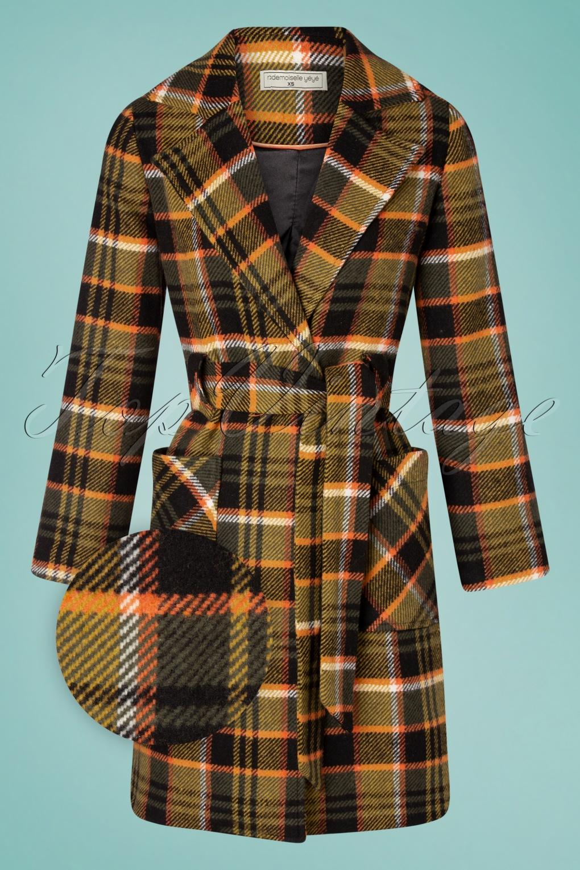 Vintage Coats & Jackets | Retro Coats and Jackets 60s Lets Cozy Up Coat in Tartan Black and Mustard £163.12 AT vintagedancer.com