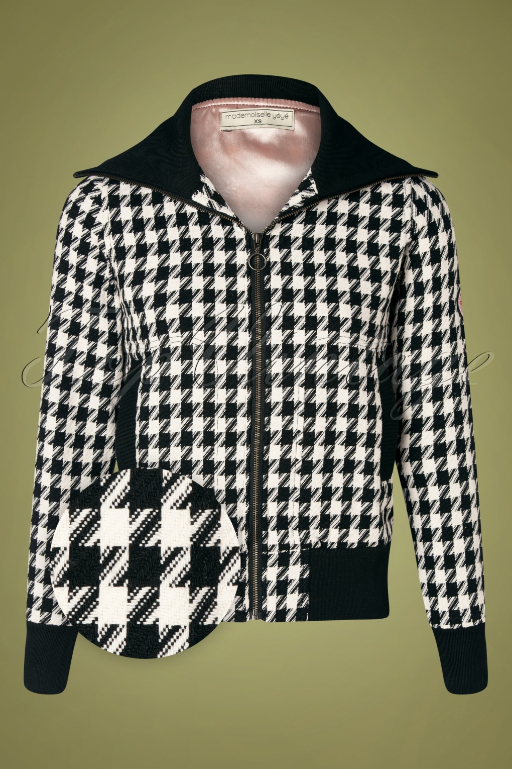 Vintage Coats & Jackets | Retro Coats and Jackets 60s Cheerful Days Jacket in Houndstooth Black and White £120.13 AT vintagedancer.com
