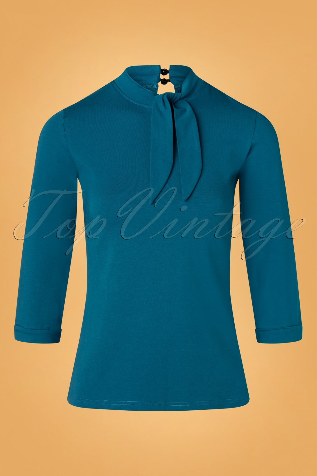 1950s Tops and Blouse Styles 50s Dolly Glam Top in Teal £25.72 AT vintagedancer.com