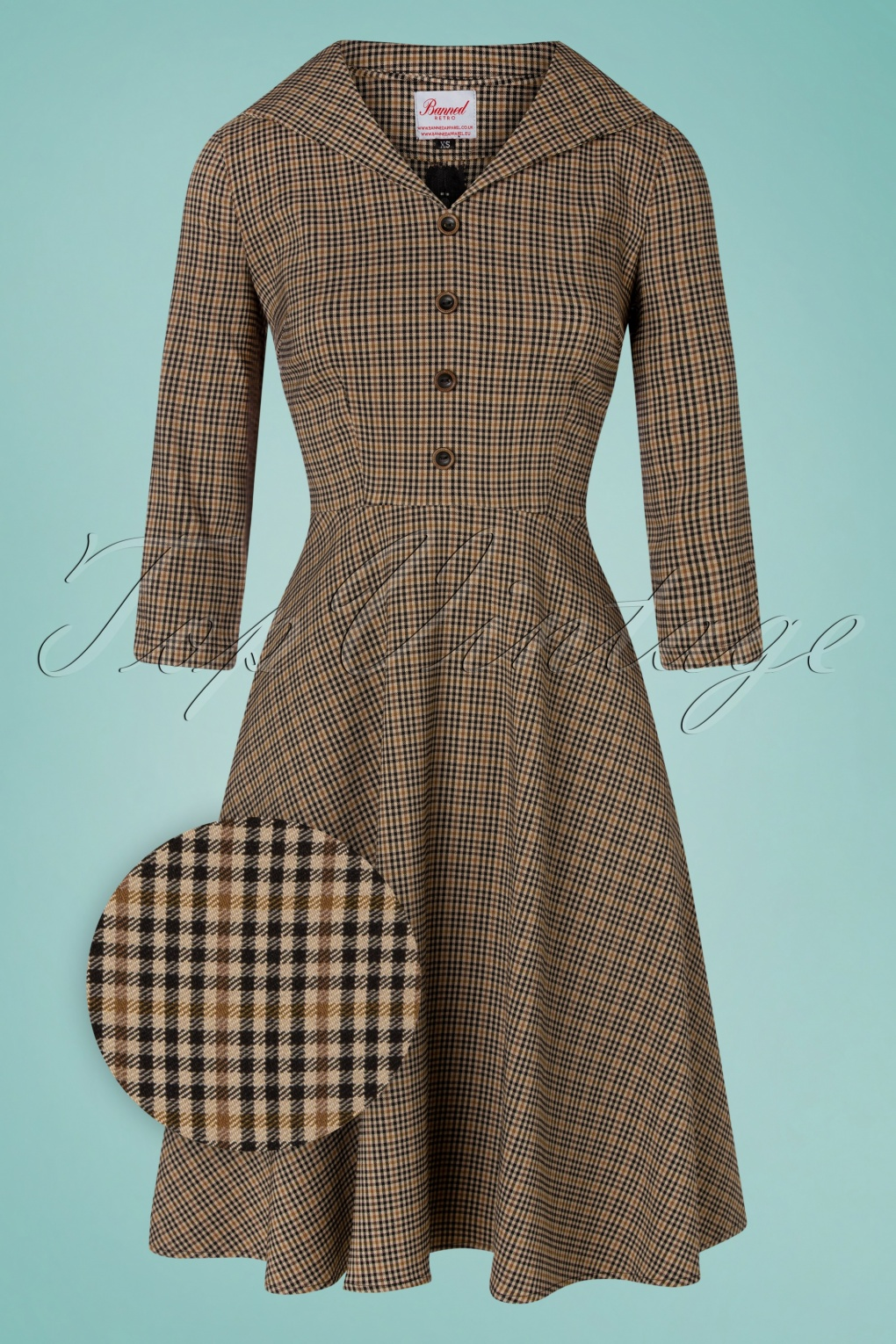 Pin Up Dresses | Pinup Clothing & Fashion 50s Lady Check Swing Dress in Brown £60.07 AT vintagedancer.com