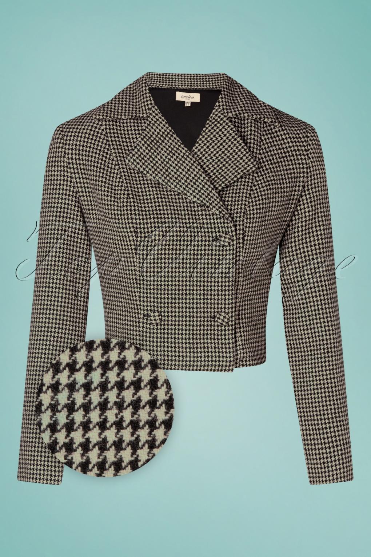 Vintage Coats & Jackets | Retro Coats and Jackets 40s Celia Houndstooth Cropped Wool Jacket in Black and Beige £72.43 AT vintagedancer.com