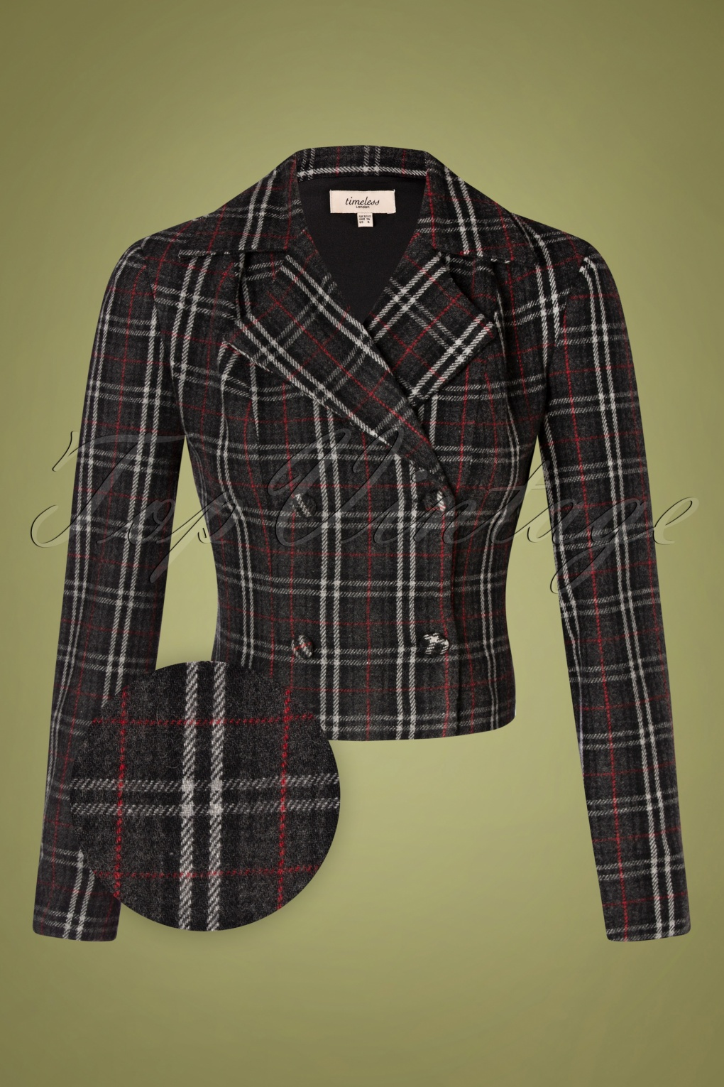 Vintage Coats & Jackets | Retro Coats and Jackets 40s Celia Cropped Wool Jacket in Charcoal and Red £72.43 AT vintagedancer.com