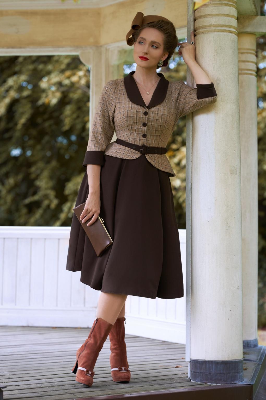 Pin Up Dresses | Pinup Clothing & Fashion 50s Sanna Dora Sophistication Day Dress in Brown £117.23 AT vintagedancer.com