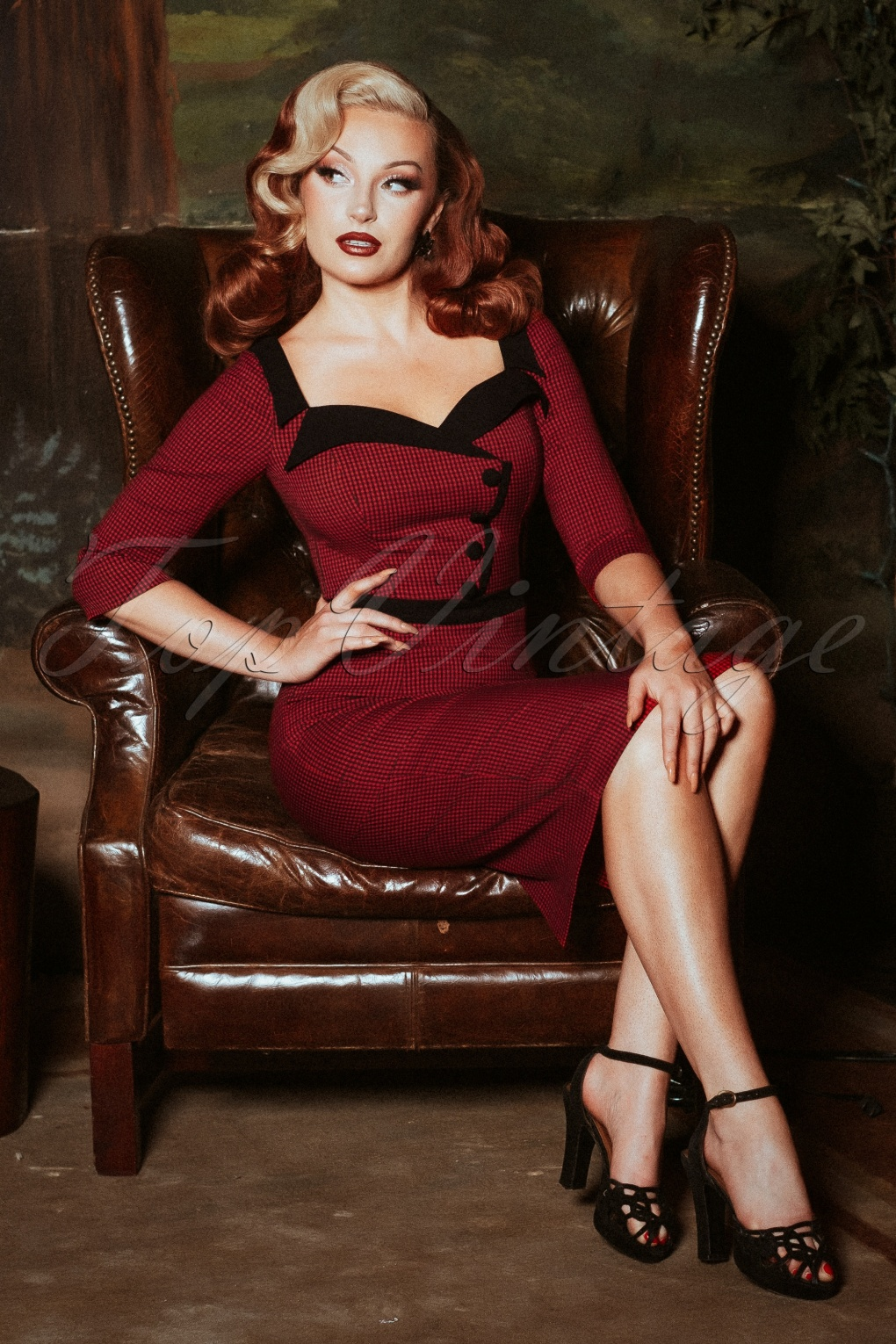 Pin Up Dresses | Pinup Clothing & Fashion 50s Suzette Gingham Pencil Dress in Black and Red £102.57 AT vintagedancer.com