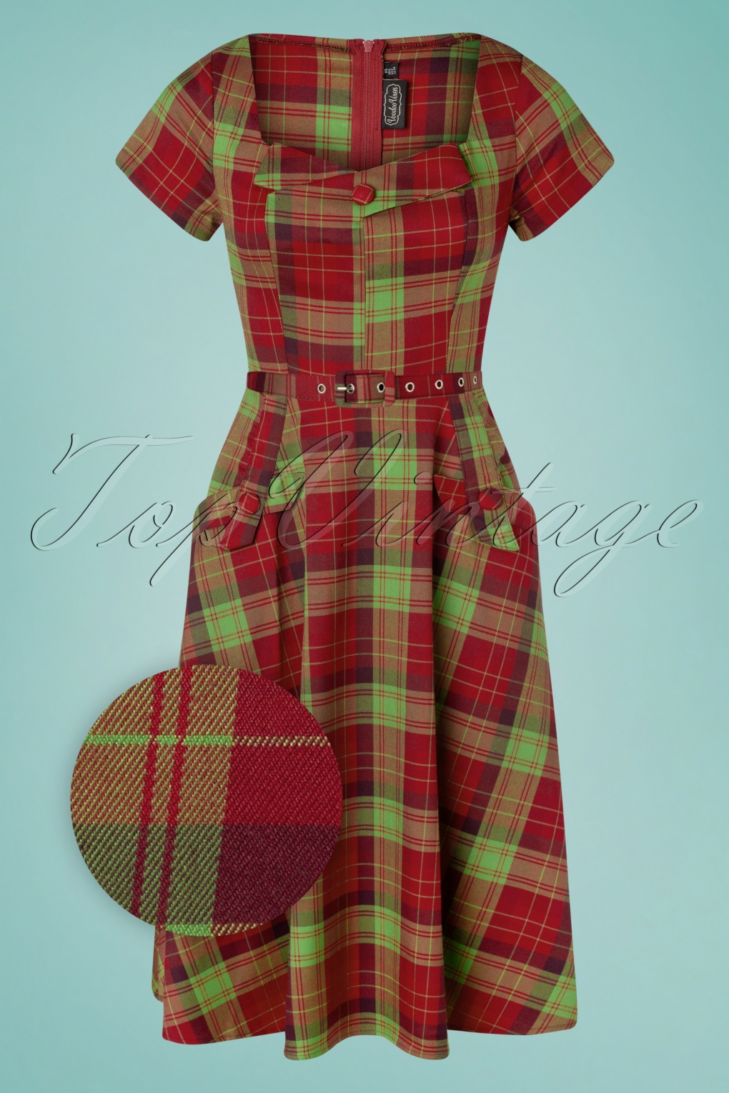 Pin Up Dresses | Pinup Clothing & Fashion 50s Marine Plaid Swing Dress in Burgundy and Green £59.71 AT vintagedancer.com