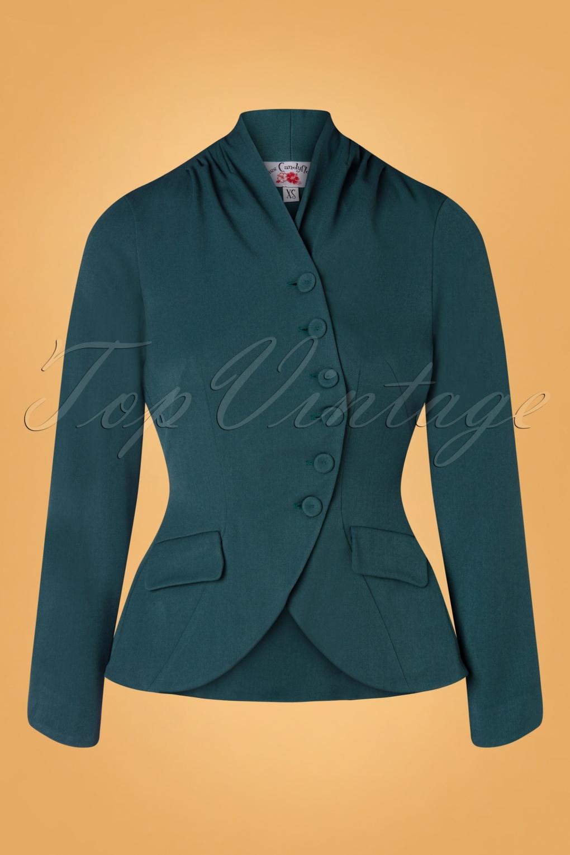 Vintage Coats & Jackets | Retro Coats and Jackets 40s Clemence Jacket in Teal £72.64 AT vintagedancer.com