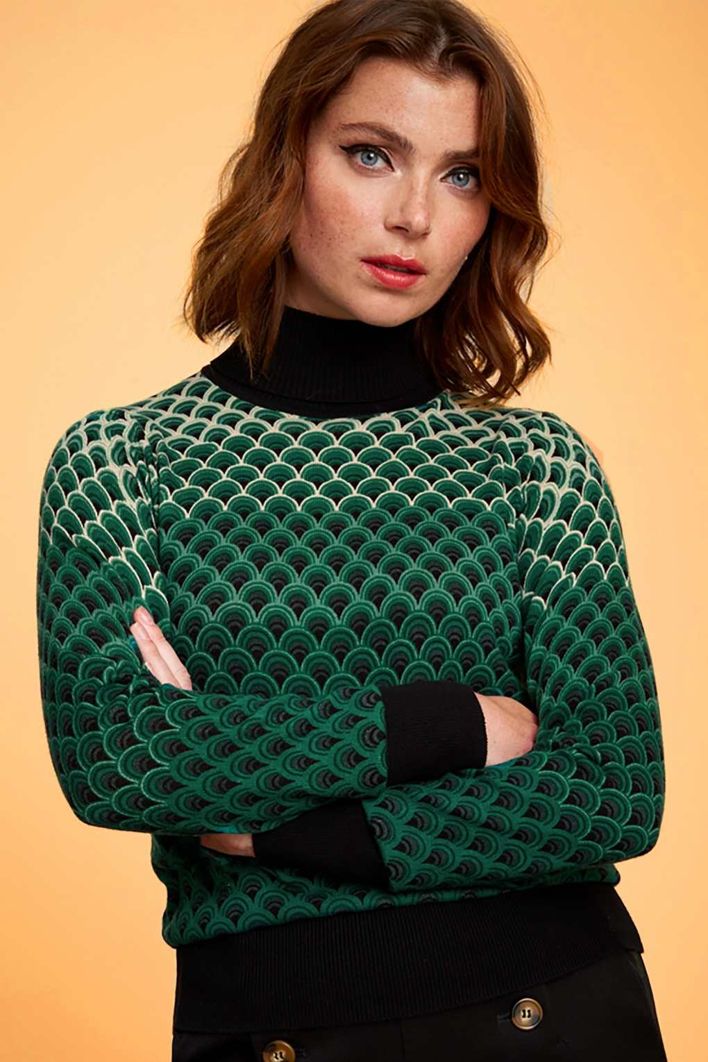 70s Clothes | Hippie Clothes & Outfits 70s Rollneck Pastery Knit Top in Black £51.26 AT vintagedancer.com