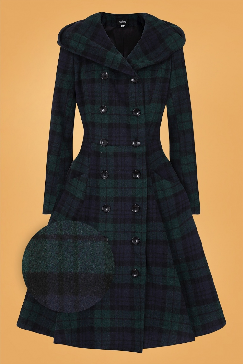 Vintage Coats & Jackets | Retro Coats and Jackets 50s Heather Blackwatch Check Swing Coat in Navy and Green £162.43 AT vintagedancer.com