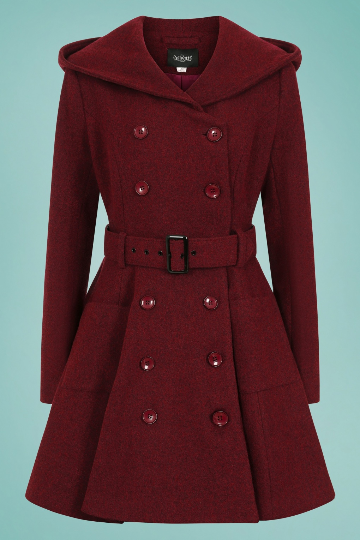 Vintage Coats & Jackets | Retro Coats and Jackets 50s Everleigh Hooded Skater Coat in Burgundy £145.32 AT vintagedancer.com