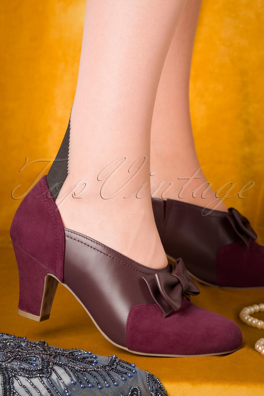 Women's Oxford Shoes – Vintage 1920s, 1930s, 1940s Heels Ava Flapper Girl Pumps in Berry £106.66 AT vintagedancer.com