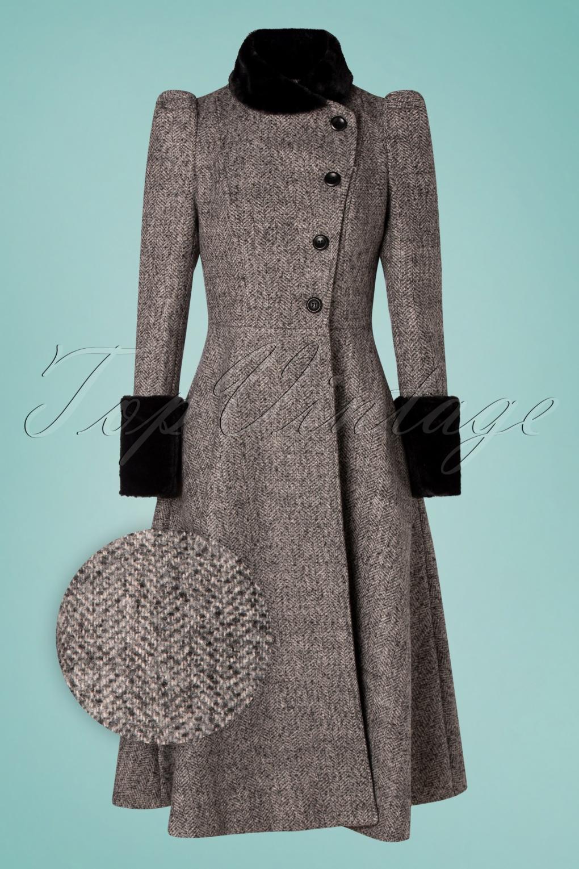 Vintage Coats & Jackets | Retro Coats and Jackets 40s Violet Fur Trim Dress Coat in Grey £128.00 AT vintagedancer.com