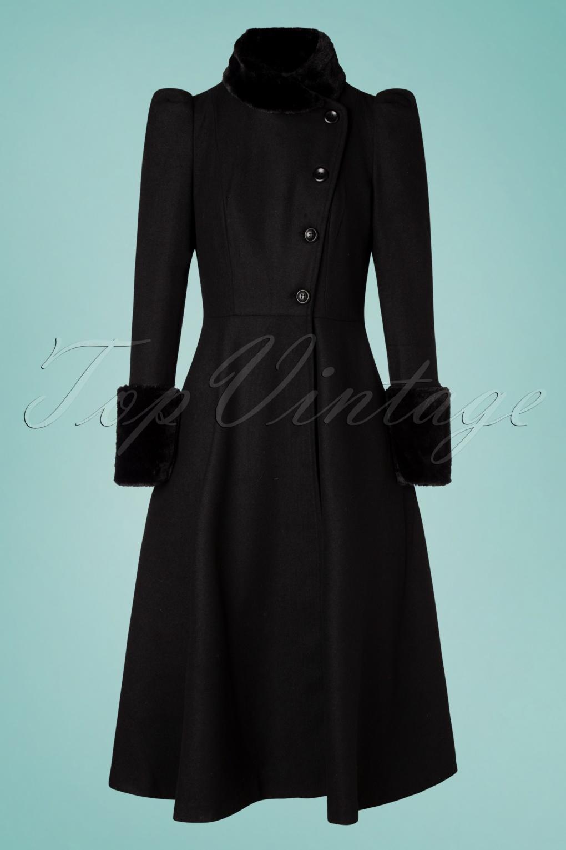 Vintage Coats & Jackets | Retro Coats and Jackets 40s Violet Fur Trim Dress Coat in Black £128.00 AT vintagedancer.com