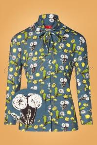Blusa Esmee Lionteeth de los años 60 en azul bosque oscuro