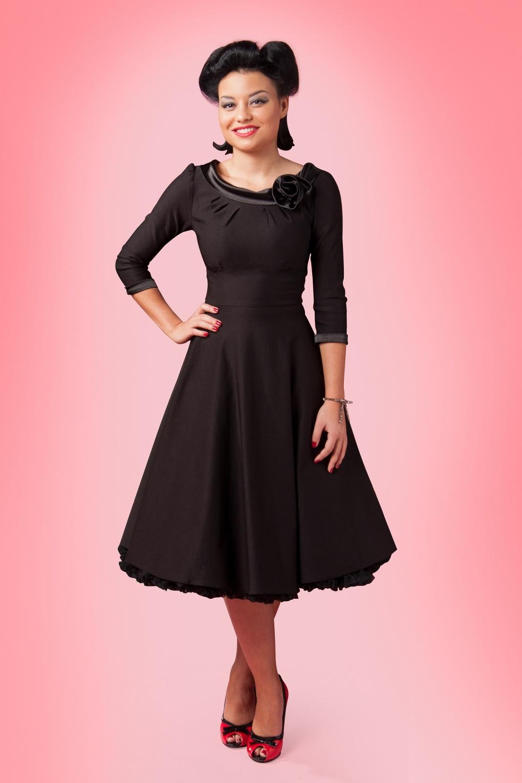 50s First Lady Swing Dress Black