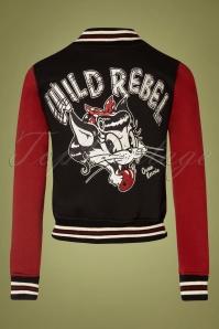 Chaqueta universitaria 50s Wild Rebel Cat en negro y burdeos