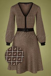 Vestido de punto Georgia de los años 60 en marrón y beige