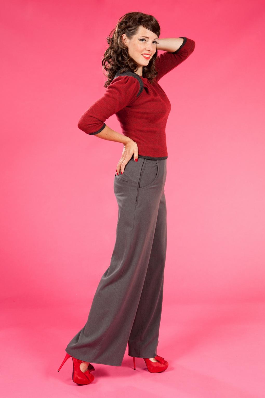 40s Katherine Hepburn High waisted Swing trousers grey