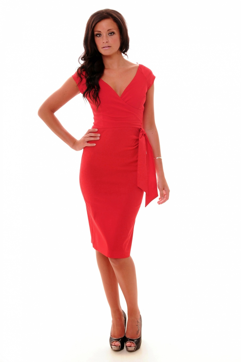 Red Hourglass Vintage Pencil Dress