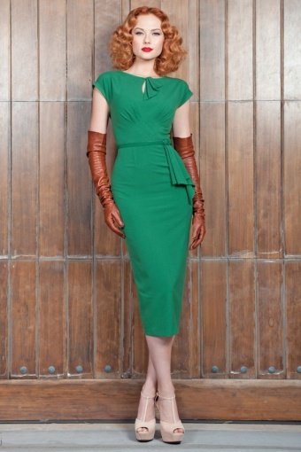 40s Timeless vintage green pencil dress