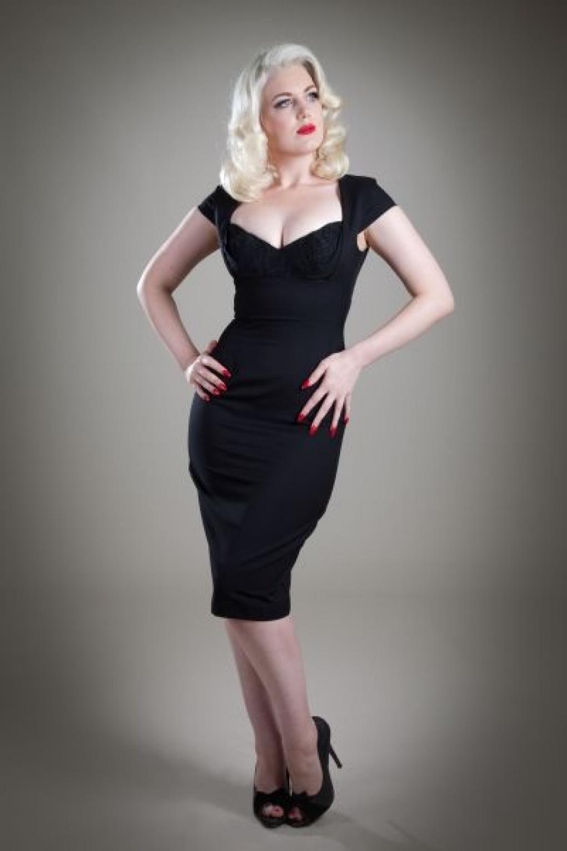 Vintage Lace black pencil dress