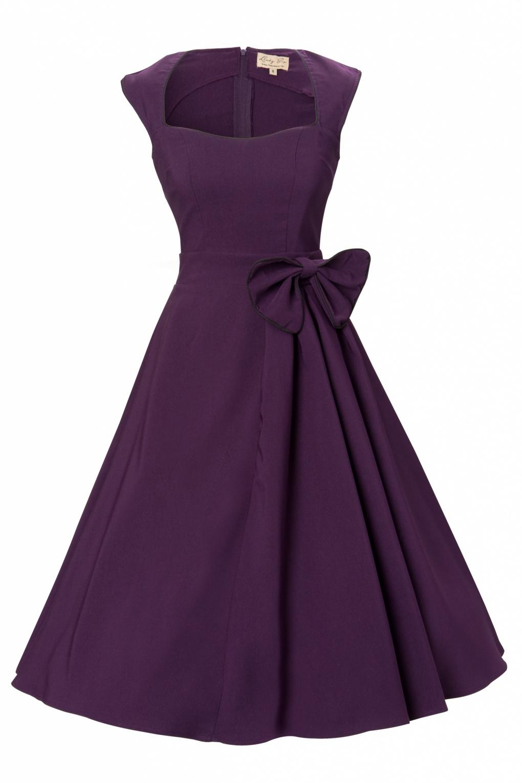 1950 S Grace Purple Bow Vintage Style Swing Party