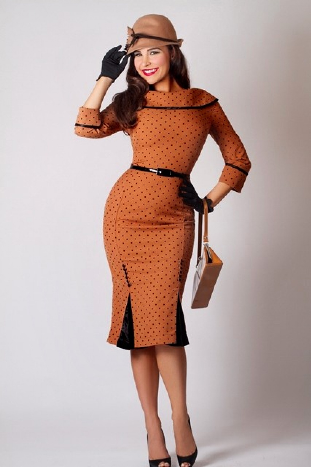 50s Iced Coffee Wiggle Dress Camel Black Dots