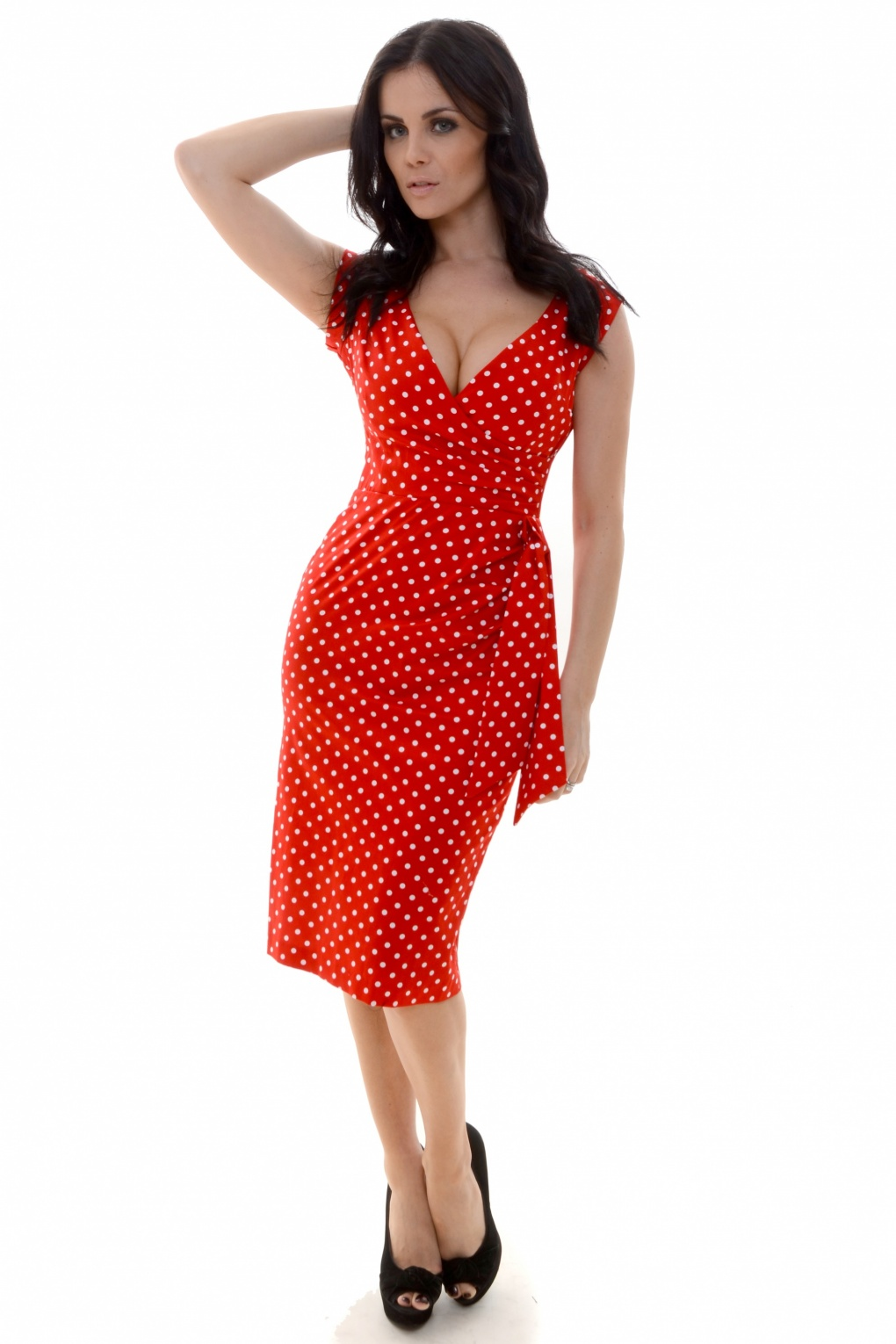 Red Polka Hourglass Vintage Pencil Dress