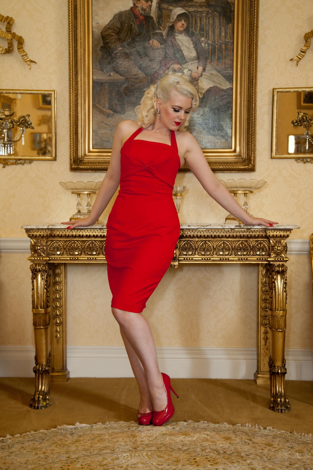 Limited Edition Saucy Sally Red Pencil Dress Halter Amp Strap