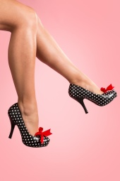 Cutiepie Polka Dot Heart cut Satin Bow platform pumps
