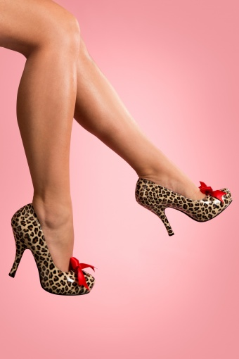 Pinup Couture Cutiepie Cheetah Heart cut Satin Bow platform 22-2483