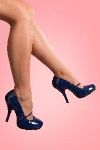 40s Cutiepie Mary Jane Navy platform patent pumps