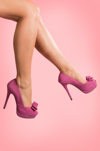 Pinup Couture 50s Bella plateau pumps Fuchsia Bow 22-2629