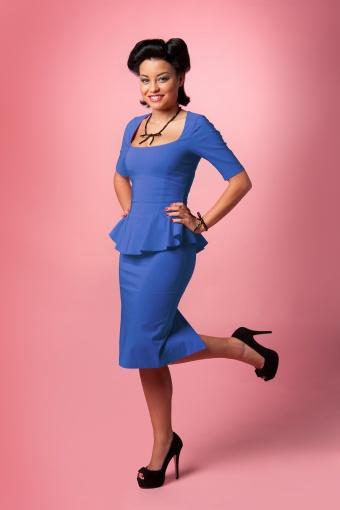 Royal Blue Chelsea Peplum Pencil dress