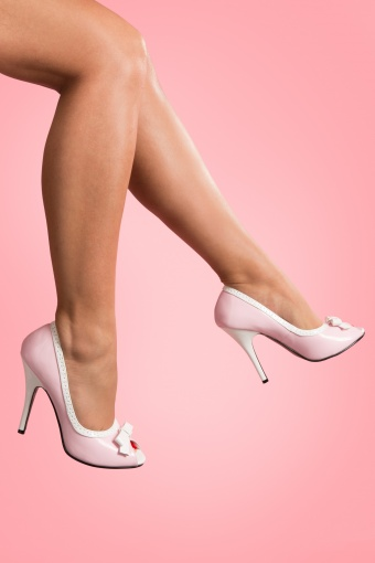 Pleaser 50s Seduce Baby Pink White Bow pumps_22-3523
