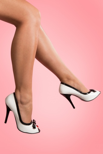 Pleaser 50s Seduce White Black Bow pumps_22-3621