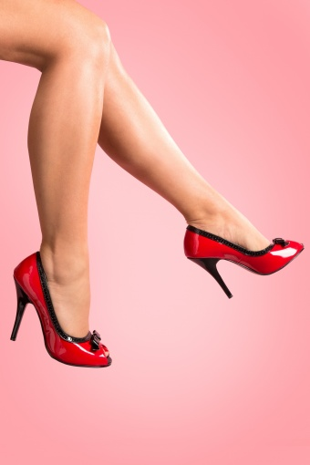 Pleaser 50s Seduce Red Black Bow pumps_22-3795