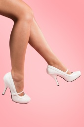 40s Cutiepie Mary Jane White platform patent pumps